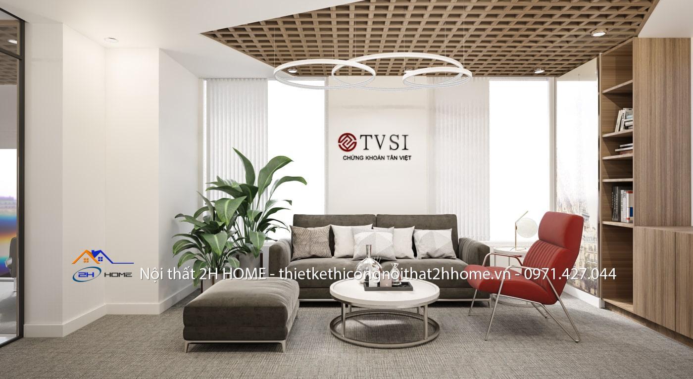 Thiết kế nội thất văn phòng chứng khoán cho sảnh tiếp khách